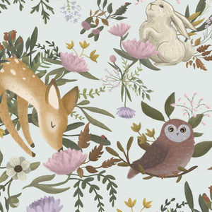 forest animals mural with white background