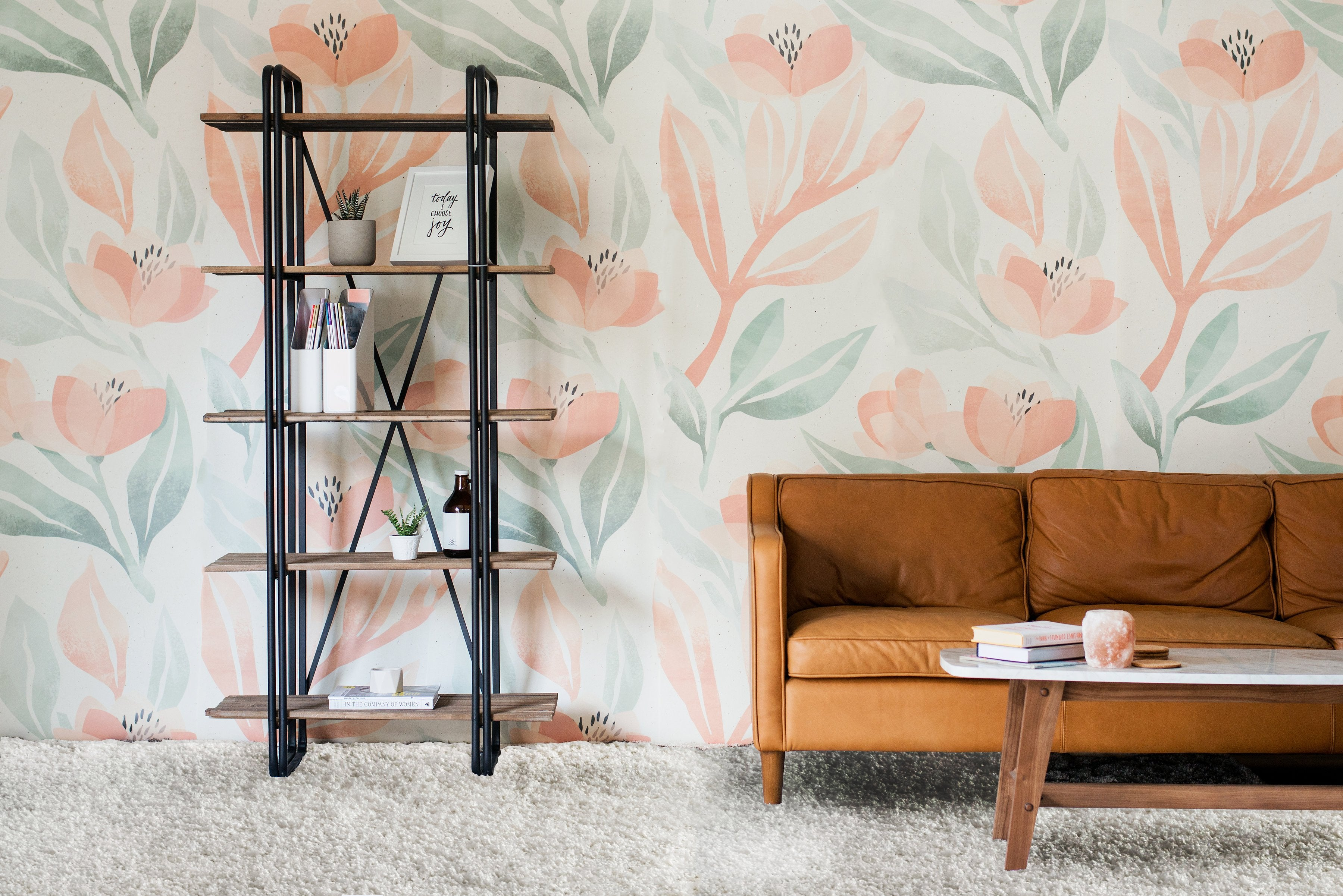Orange Blossom Mural, Pastel Floral Wallpaper For Walls