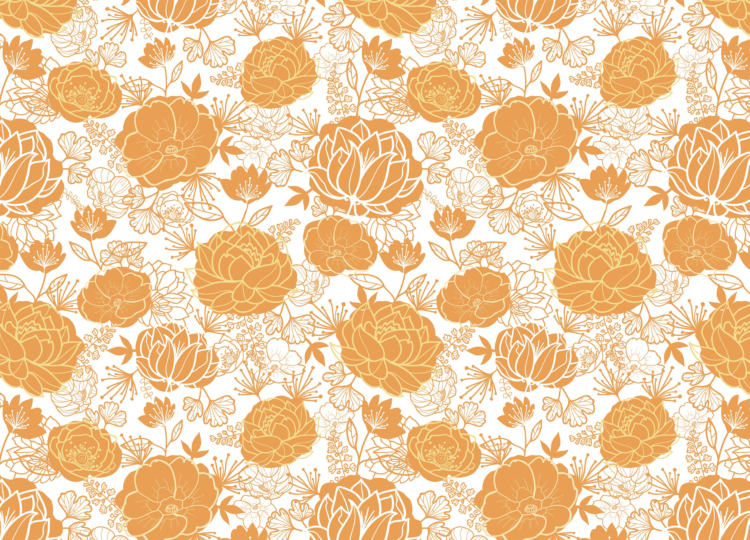 Titian Mural Burnt Orange Floral Wallpaper For Living Room Walls