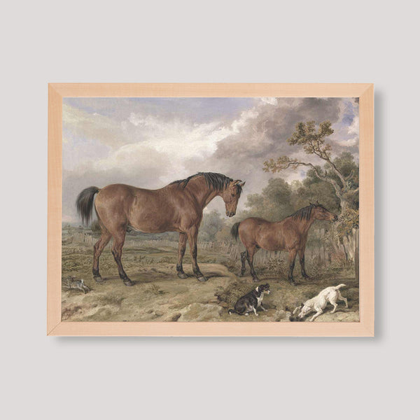 antique print two horses