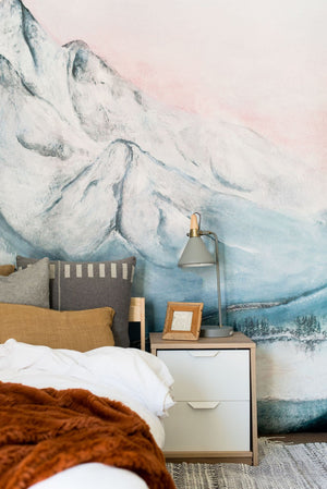 snowy mountain mural
