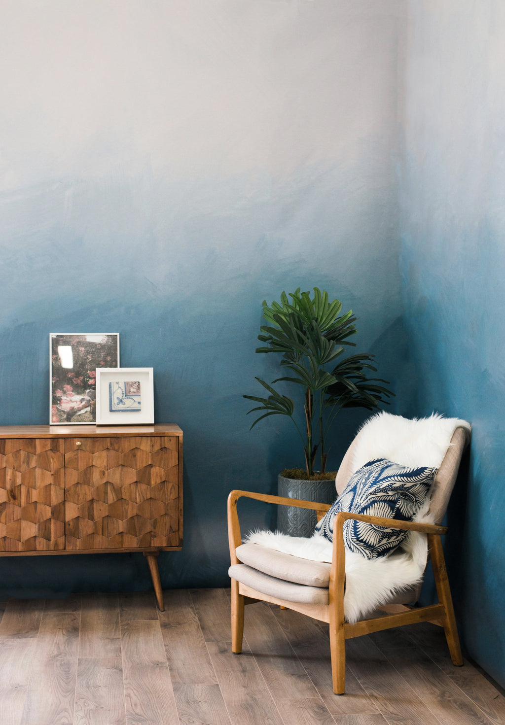 blue ombre mural