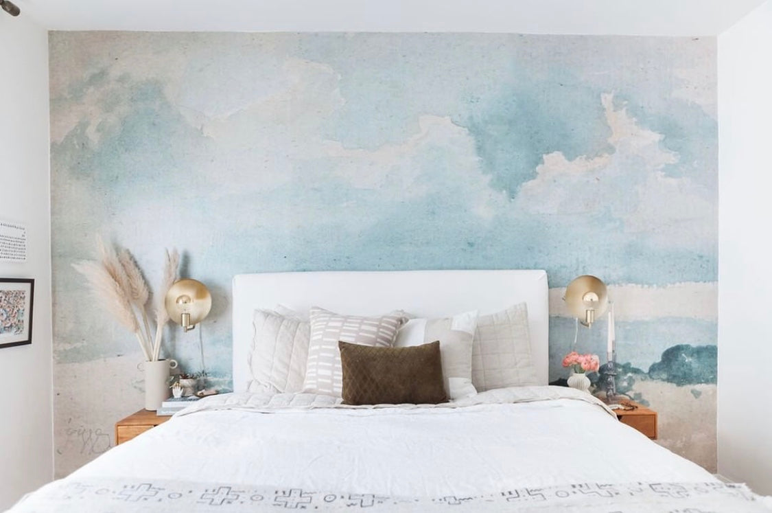Watercolor Blue & Grey Cloud Wallpaper