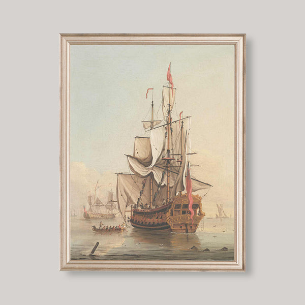 antique shipping painting