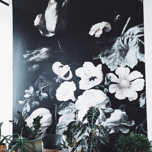 still life floral mural black wallpaper