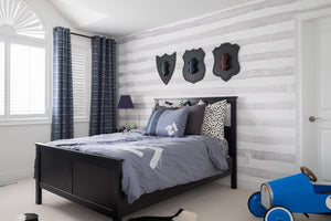 subtle grey and white striped wall mural