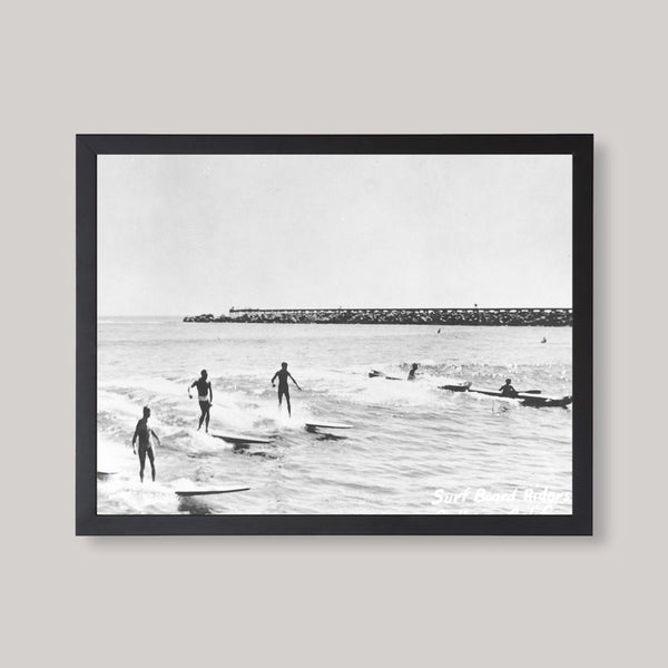 black and white surfers image