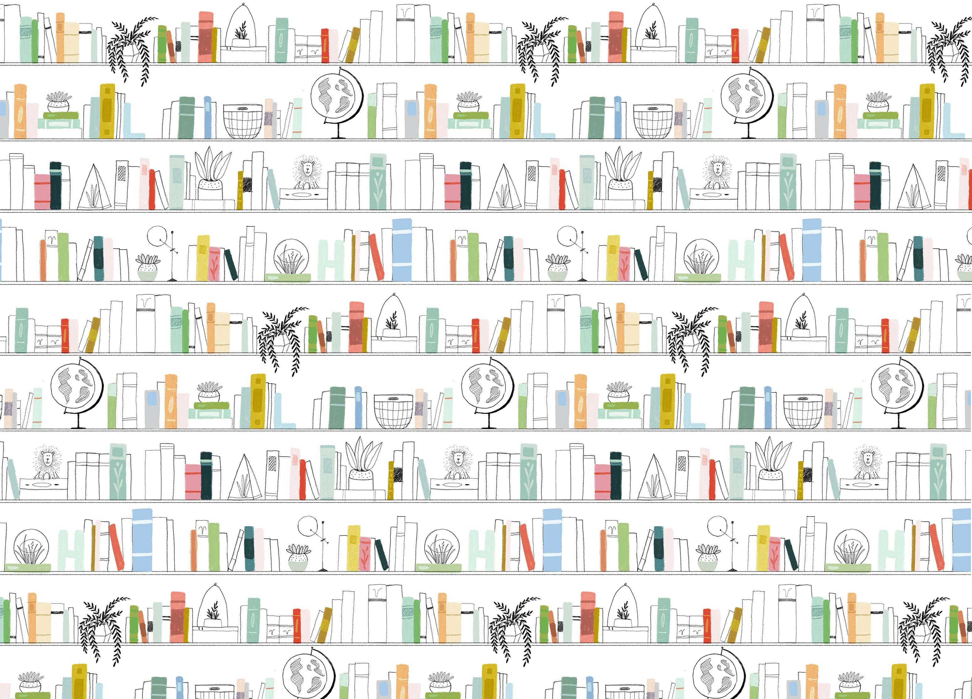 vintage bookshelf wallpaper mural