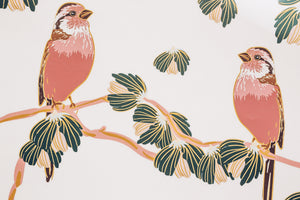 vintage red chickadee wallpaper