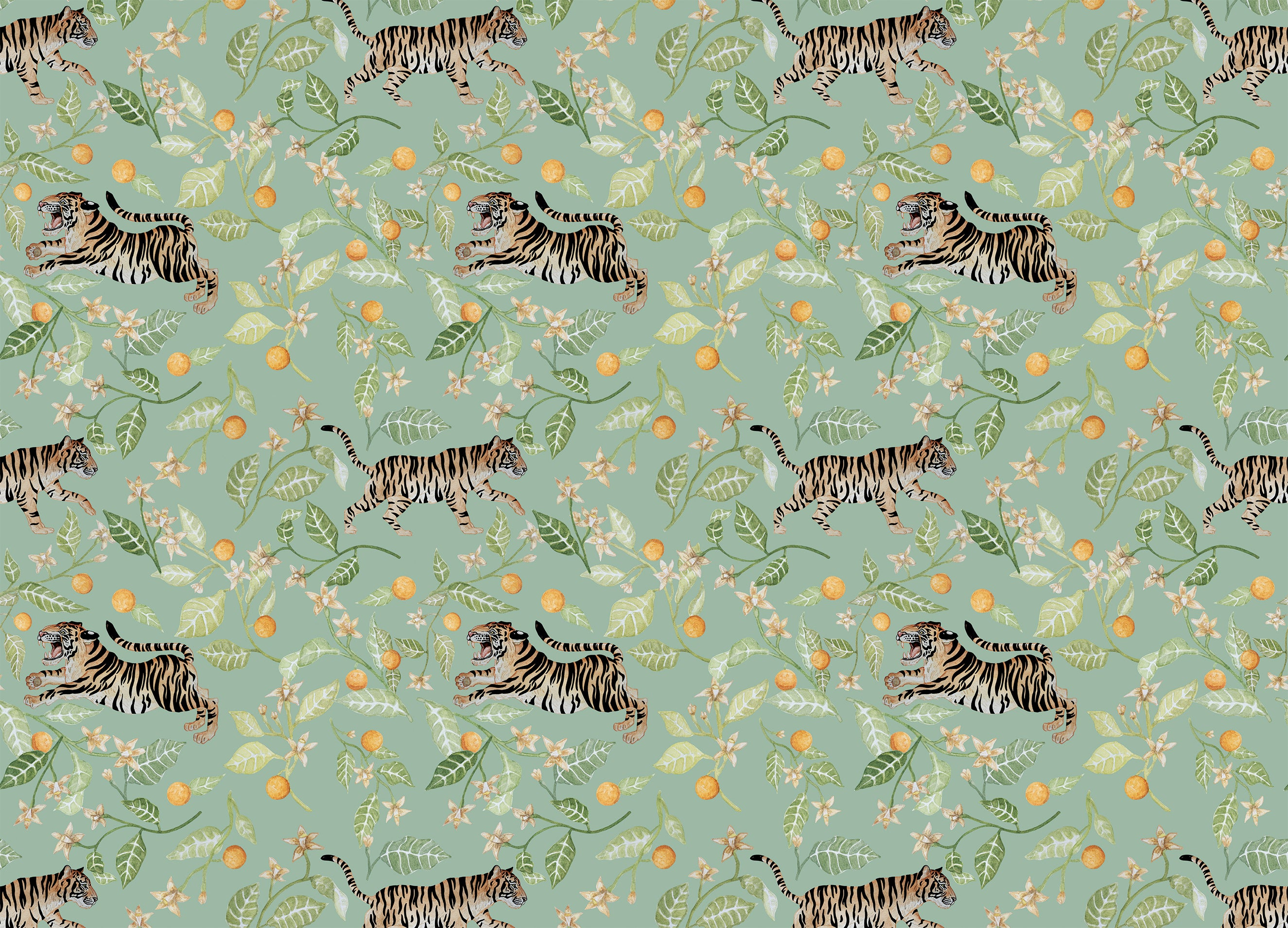 tigers and clementines wallpaper