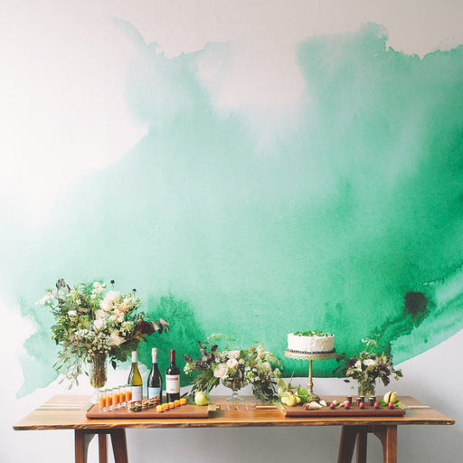 green watercolor mural