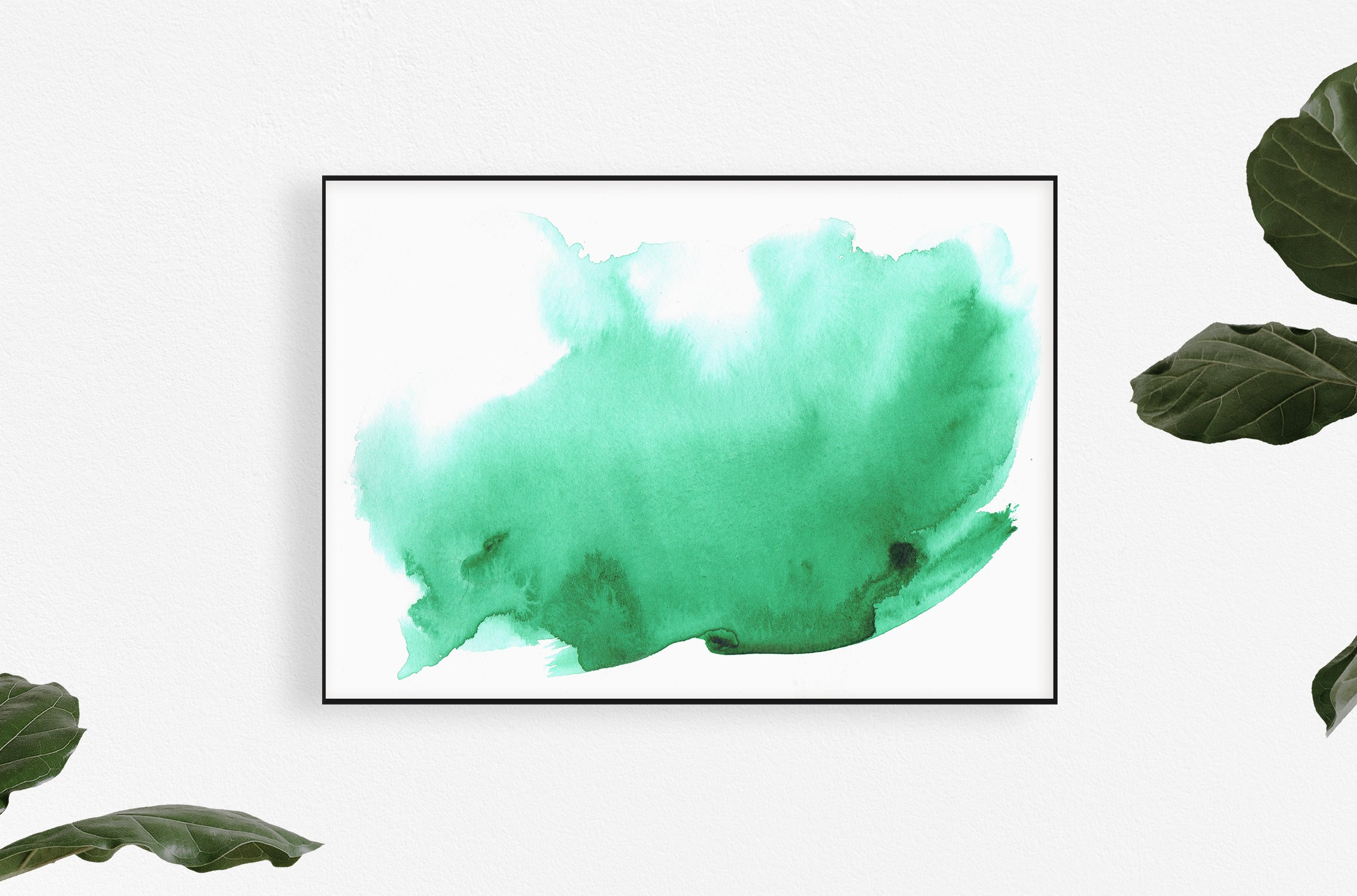 green watercolor art print