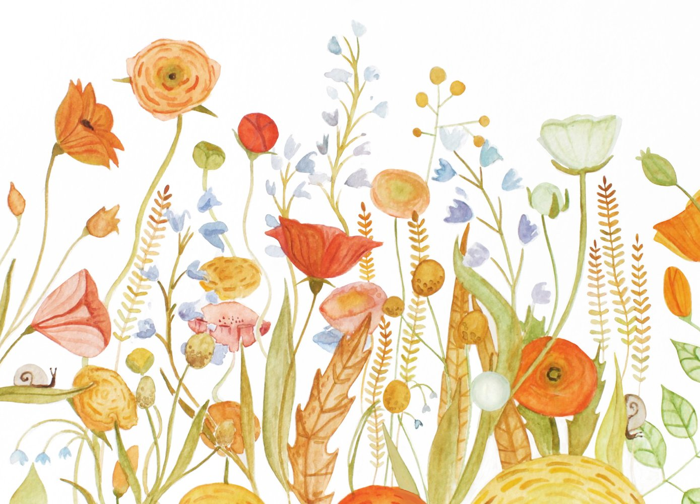 Wildflower Wallpaper Red And Gold Floral Wall Mural Anewall