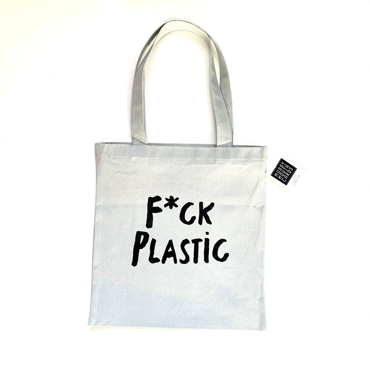 Canvas Zippered Tote Bag F*ck Plastic