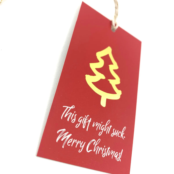 Gold Foil Christmas Tags This Gift Might Suck 8-pack