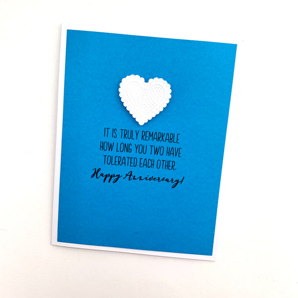 Anniversary Truly Remarkable How Long You Tolerated Each Other card