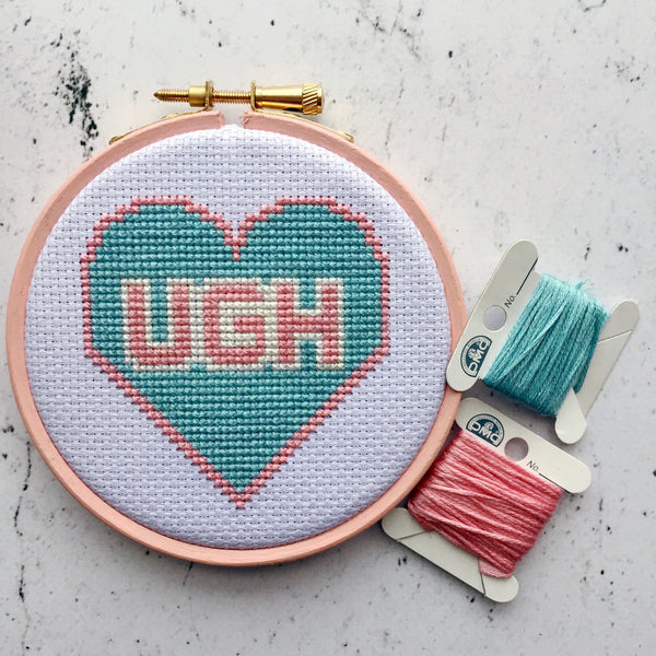 "UGH 4"" contemporary cross stitch kit"