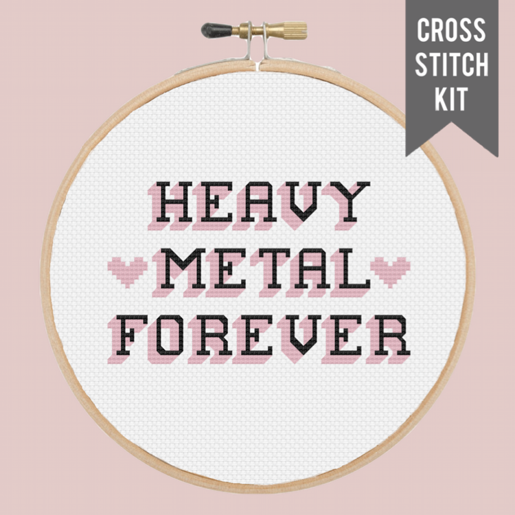 "HEAVY METAL FOREVER 6"" contemporary cross stitch kit"