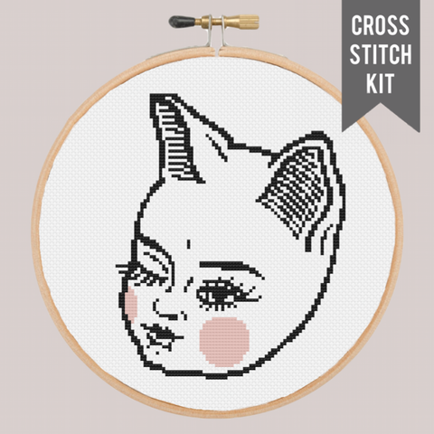 "CAT BABE 7"" contemporary cross stitch kit"