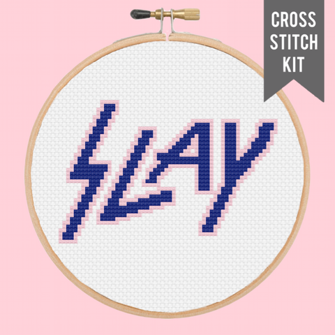 "SLAY 5"" contemporary cross stitch kit"
