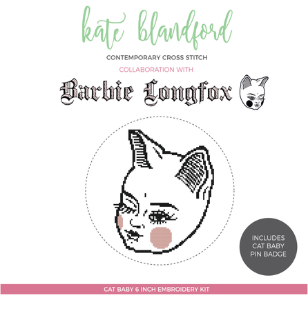 """Cat Babe"" contemporary cross stitch kit"