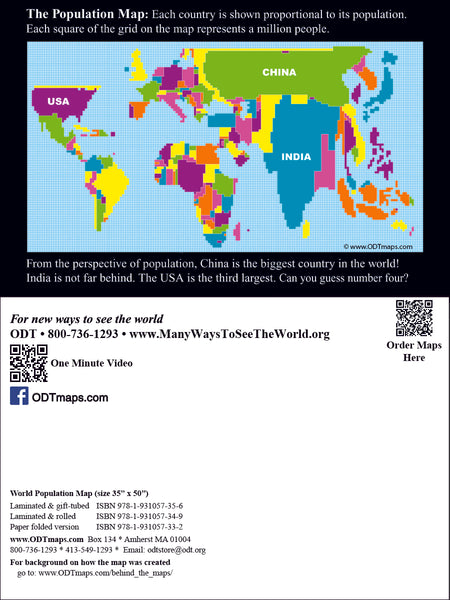 Population Map Postcard - 25-packs