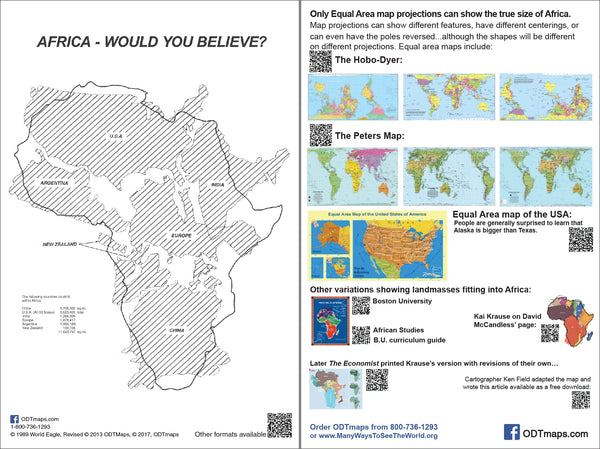 "Africa - Would You Believe?  - 6x9"" Map-card jammed with resources on the back"
