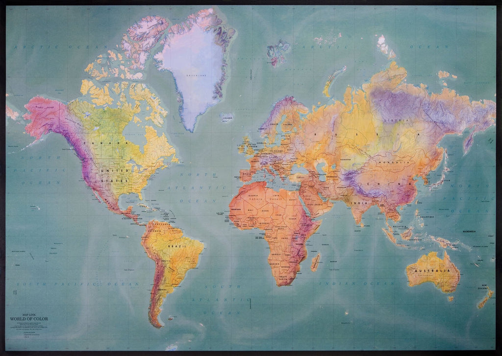 Mercator Wall Map - lam / tubed