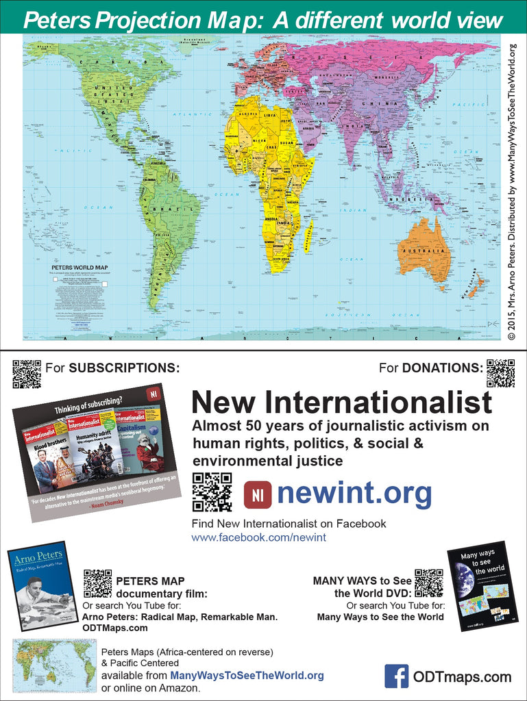 "Peters Map card - Size 6x9"" - featuring links to New Internationalist - FREE samples"