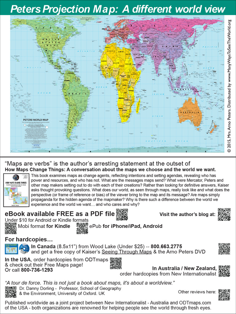 "Peters Map-cards - 6x9"" - with QR code to free download How Maps Change Things (less than 30 cents per card!)"