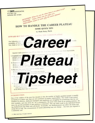 How to Handle the Career Plateau Tipsheet * hardcopy * (Empowerment) 4-pages
