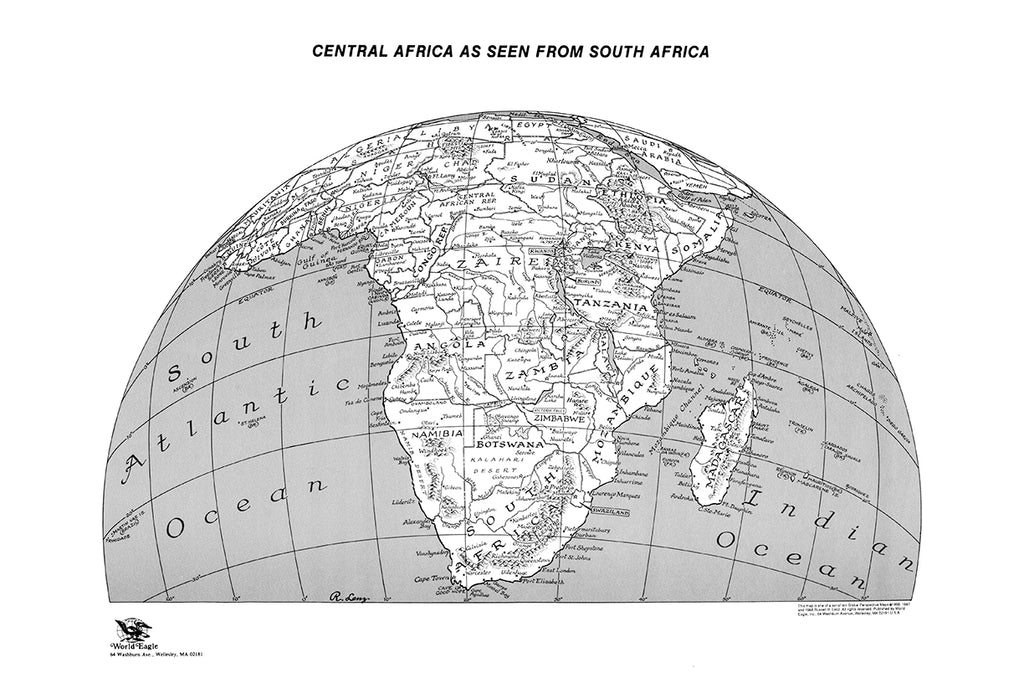 Central Africa as seen from South Africa - Lenz stippling map * digital free