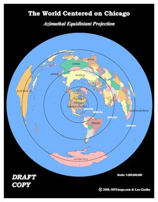 City centered maps azimuthal equal area equidistant many ways chicago centered world map 85 x 11 in gumiabroncs Choice Image