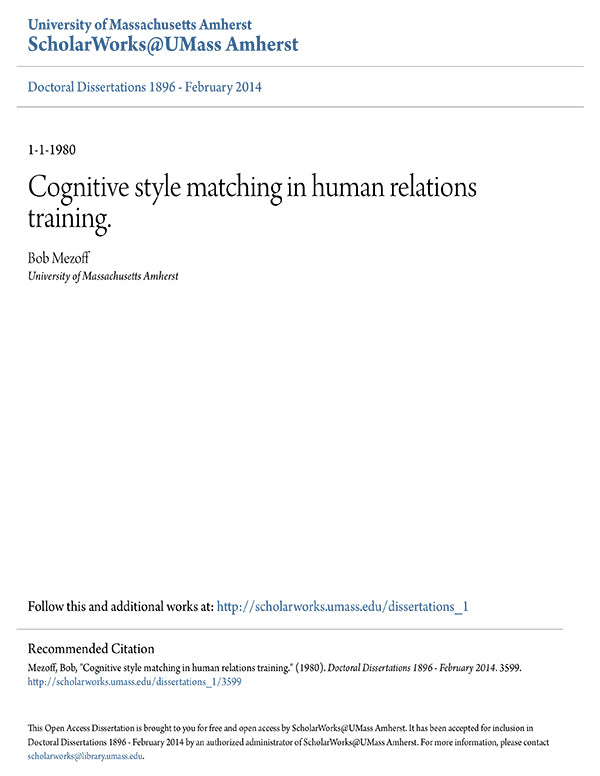 Cognitive style matching in human relations training * digital download * free * Diversity