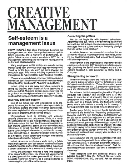 Self-Esteem is a Management Issue - free download of article from Creative Management