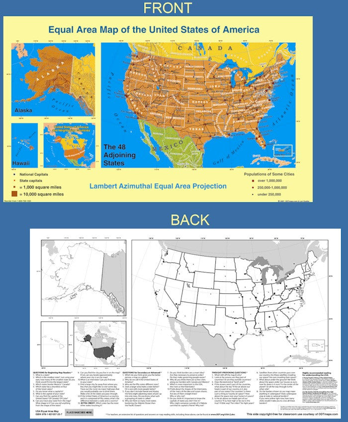 Equal Area Map of the United States-laminated or paper – Many Ways ...