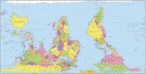 Hobo-Dyer Equal Area World Map * digital license $149 and up ( for publication )