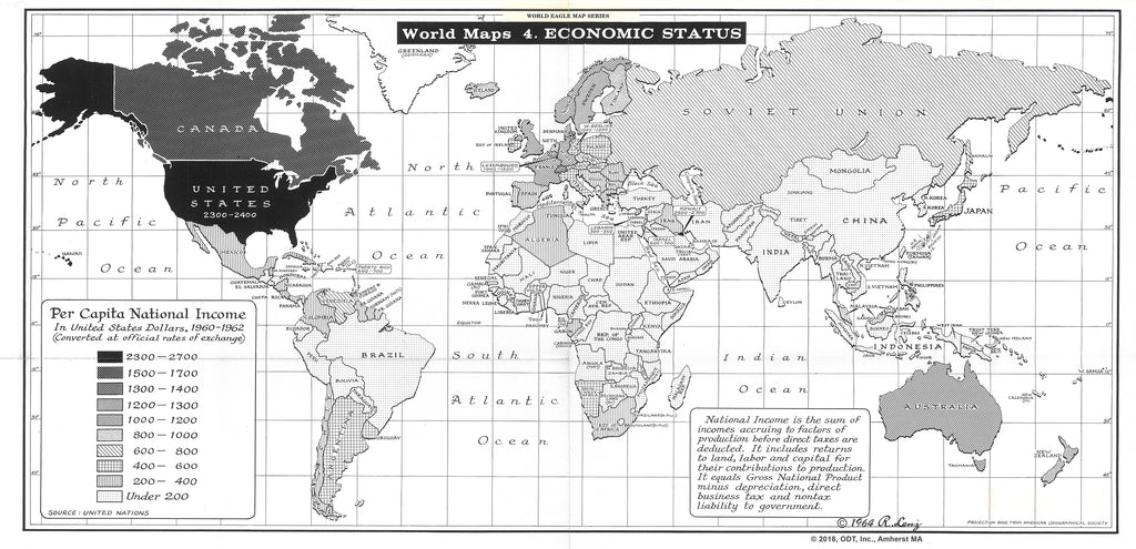 Lenz 1964 Map of Economic Status * digital license $100 and up