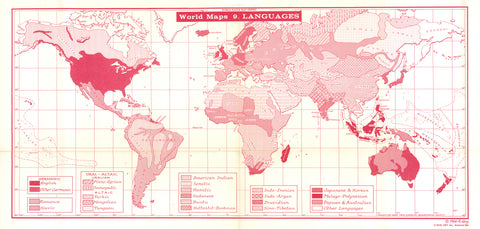 Lenz 1964 Map of the World's Languages * digital license $100 and up
