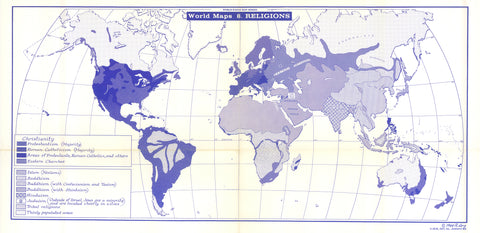 Lenz 1964 Map of Religions * digital license $100 and up