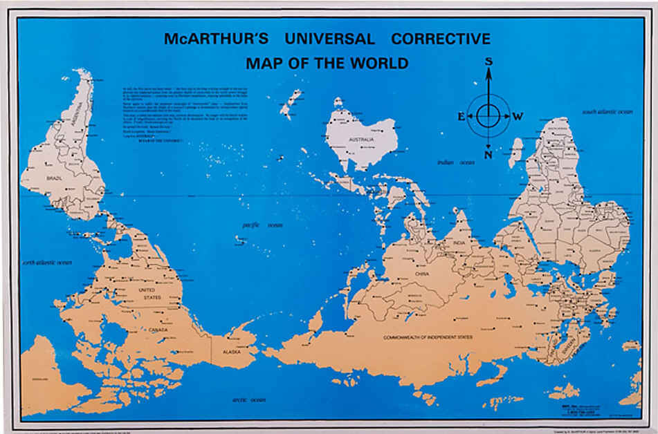 See Map Of The World.Mcarthur S Universal Corrective Map 23 X 35