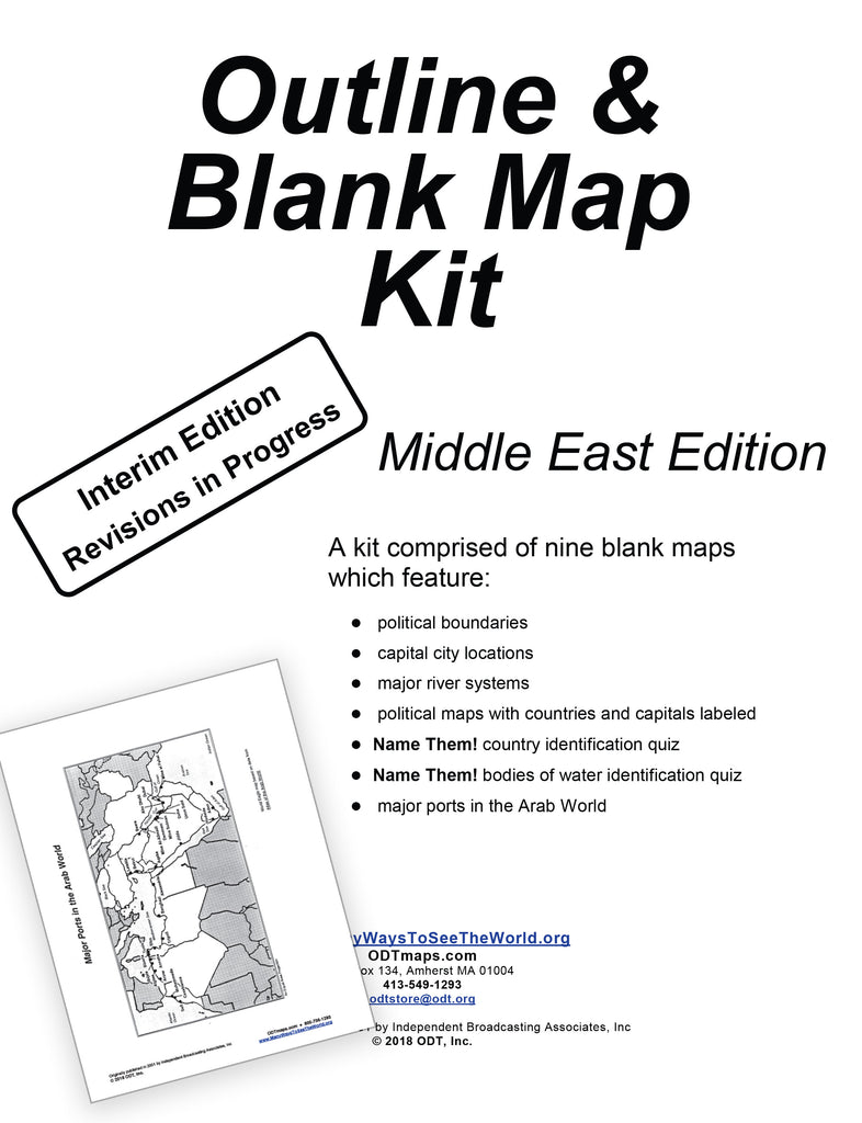 Middle East: Outline & Blank Map Kit - 8 pages - Free download