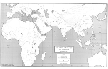 "Muslim World Past and Present - 32"" x 50"" - paper rolled map"
