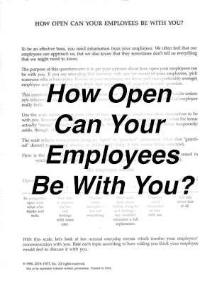 How Open Can Your Employees Be With You? Questionnaire * digital free * (Empowerment) 2-pages