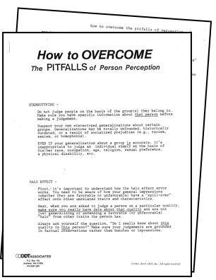 How to Overcome the Pitfalls of Person Perception 5-pages, diversity seminar handout * digital download * free