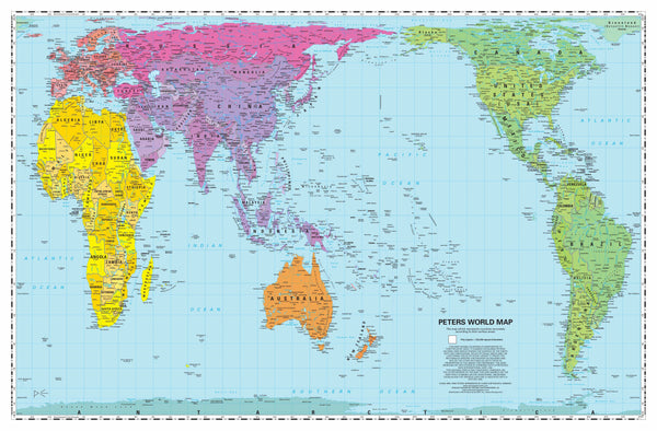 "New map for 2020! - Pacific-centered Peters Equal Area Desktop 11x17"" Map - traditional colors - sold only in 50-packs!"