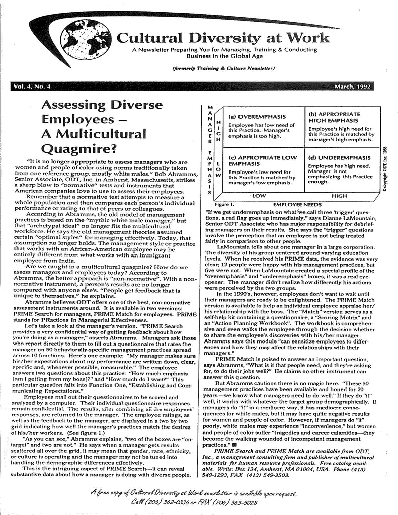 Assessing Diverse Employees - A multicultural quagmire - by Barbara Deane - free