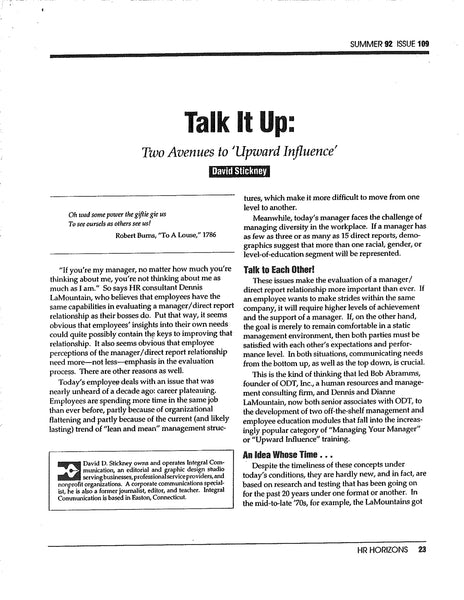 Packet of articles on Upward Management * digital free * (Empowerment)