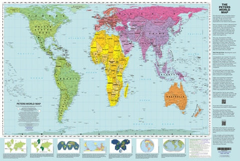 Peters Mid-size Wall Map 24x36 - with Explanatory PANELS