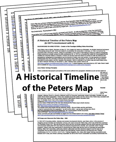 A Historical Timeline of the Peters Map (& ODT's involvement with it) * digital - free *
